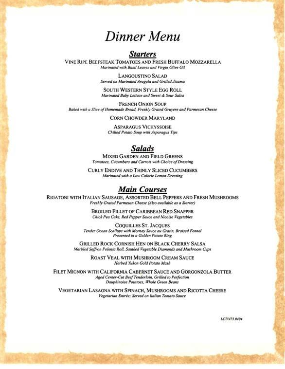 Carnival Cruises Dinner Menu 4
