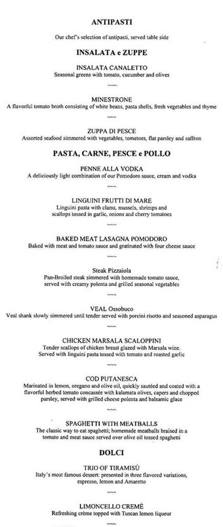 holland america canaletto italian restaurant main menu